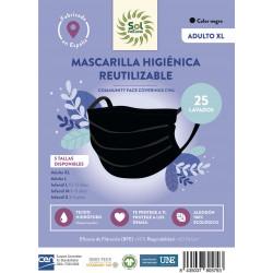 Mascarilla Higiénica Negra Adulto XL Sol Natural