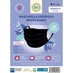 Mascarilla Higiénica Negra Niño M Sol Natural