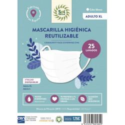 Mascarilla Higiénica Blanca Adulto XL Sol Natural