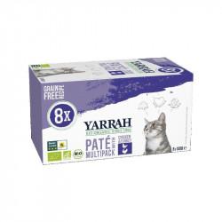 Pate Pollo Pavo Gatos Pack Yarrah 8x100gr