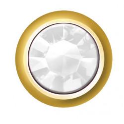 Estelle Pendiente Botón Dorado Piedra Blanca Sii-Crg 104 12 uds