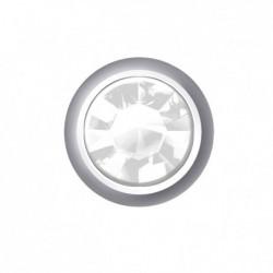Estelle Pendiente Botón Acero Piedra Blanca Mini Sii-Cmw104 12 uds