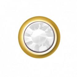 Estelle Pendiente Botón Dorado Mini Piedra Blanca Sii-Cmg104 12 uds